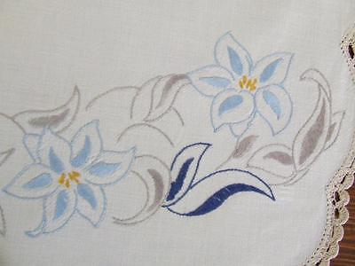 Vintage Centre Hand Embroidered in Blue & Grey Stylised Florals & Crochet Edging
