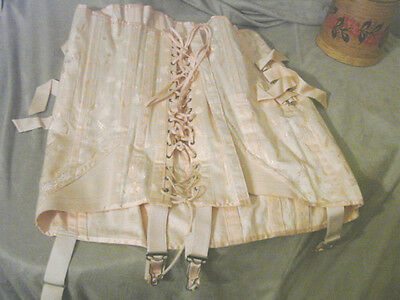 Vintage 20s 30s Corset GARTERS Truss XL Lacing VGC Cotton 36 Girdle Spencer Pink
