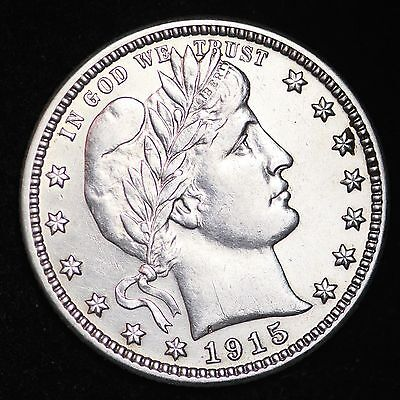 1915-D Barber Quarter CHOICE AU+/UNC FREE SHIPPING E220 TBE
