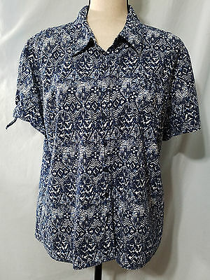 ERIKA Multi-Color Blue Print Button Down Shirt Short Sleeve Womens Size XL
