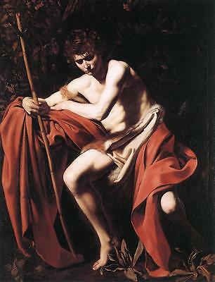 John the Baptist by Caravaggio Giclee Fine Art Print Repro on Canvas