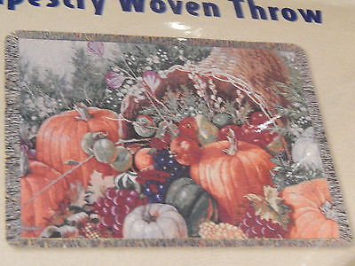 Bountiful Harvest Thanksgiving Cornucopia Tapestry 50 X 60 Made In USA Cotton