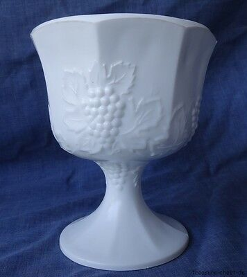 Vintage Large White Milk Glass Pedestal Bowl / Vase / Comport, Grape Decoration