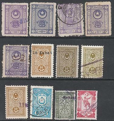 Turkey General Revenues 1925 12 diff used stamps McDonald cv $20.50