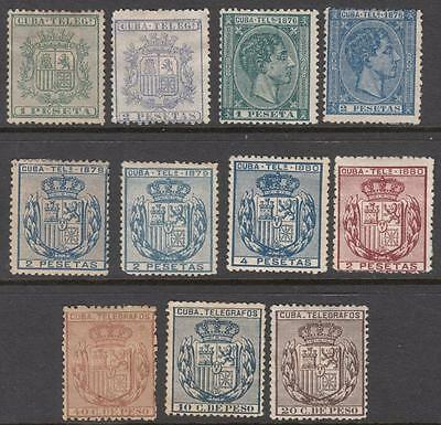 Spain Caribbean Colony Telegraph Stamps collection 11 unused stamps Bft cv $100