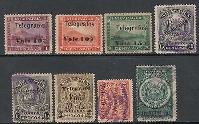 Nicaragua Telegraph Stamps 1907//1921 8 diff used stamps Barefoot cv $36