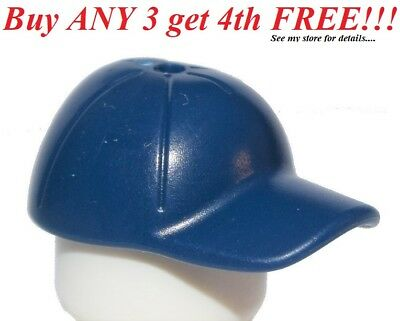 Lego Hat Cap Short Curved Bill w// Seams Button on Top Black Minifig Head on Gold