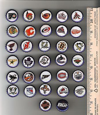 Labatts bottle caps - lot of 32 different NHL Hockey Team Logos  - used - 2004