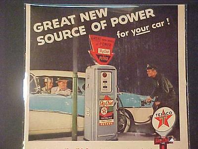 Vintage ~Texaco Oil Sky-Chief Gasoline Gas Pump Art Print Ad~ Orig Antique 1956