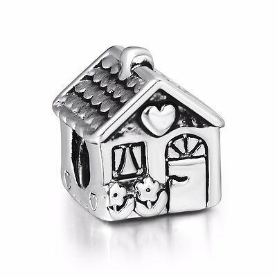 European Silver Charms Sweet House Bead Fit Sterling 925 Bracelets Bangle Chain