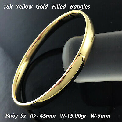 Bangle Bracelet Cuff Genuine Real 18k Yellow G/F Gold Solid Girls Kid Size 40mm