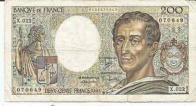 Billet FRANCE : 200 francs MONTESQUIEU 1984