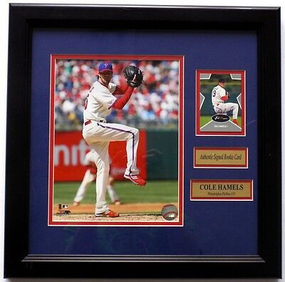 Cole Hamels Phillies Signed & Framed Minor League Rookie Card w/ 8x10 Photo SI