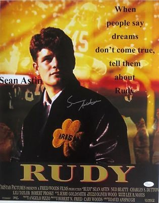Sean Astin Signed 16x20 Rudy Movie Poster Photo JSA
