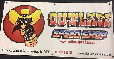 Outlaw Speed Shop Shed Banner - White - Outlaw-Bnr1200Wh