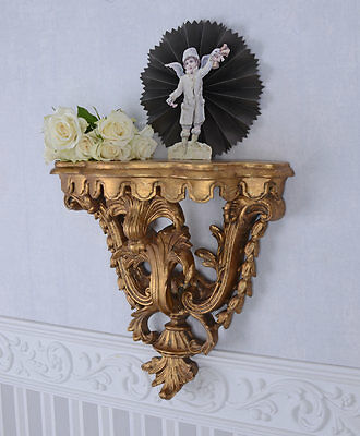Venetian Wall Console Gold Table Antique Shelf Filing Cabinet Baroque