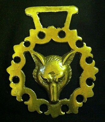 Vintage FOX HEAD IN ORNATE FRAME LONG HANGER Horse Harness Brass from England