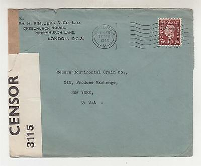 GREAT BRITAIN, 1940 censored cover to USA, 1 1/2d. perf. WHP