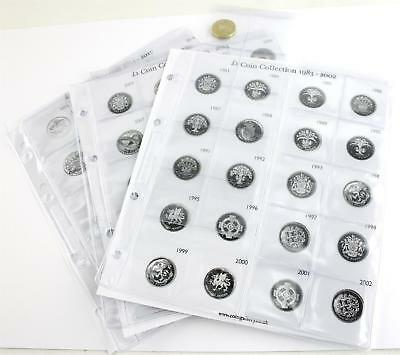 Coingallery Decimal £1 Coin Collection Template Sheets 1983 - 2017