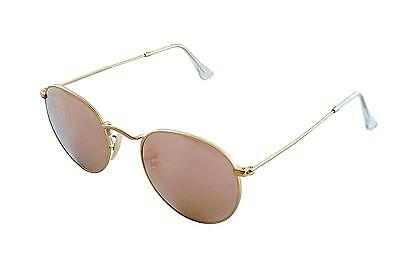 0a0d0fef2 Ray Ban ROUND METAL MATTE GOLD Frame BROWN MIRROR PINK Lenses 50mm Non  Polarized