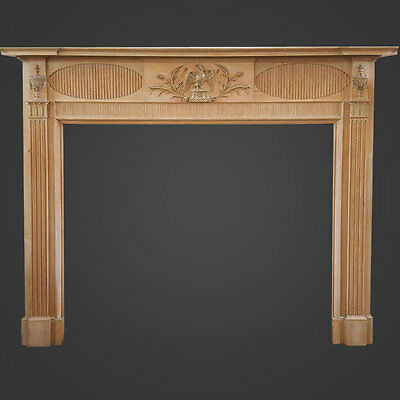 Large Georgian Eagle Pine and Gesso Fireplace Mantel