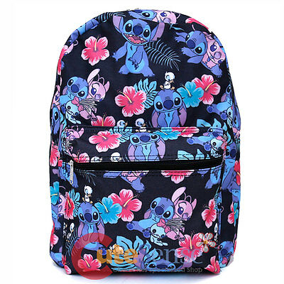 """Lilo and Stitch Large School Backpack with Angel 16"""" AOP Book Bag Black Aloha"""