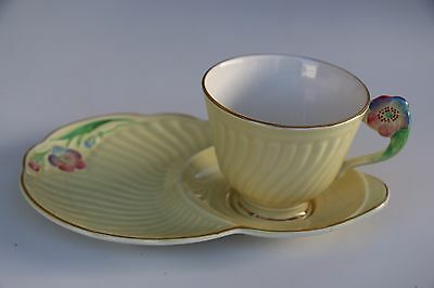 Crown Devon England Yellow Sandwich Plate And Teacup Floral Design