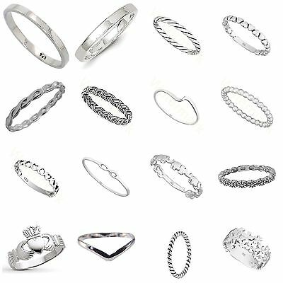 Solid Sterling  Silver 925 Simple Stacking Midi Ring  Knuckle Band
