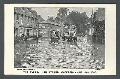 Disaster The Flood High Street Watford June 16th 1903 Hertfordshire Postcard