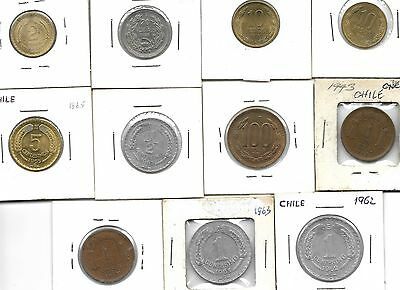 Chile collection of  11 coins