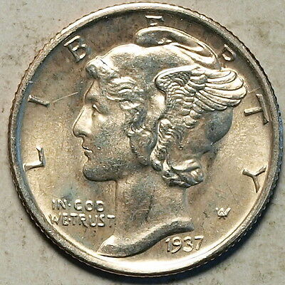 1937 S  US Silver Mercury Dime, Near Gem Full Bands !