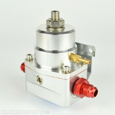 AN6 (JIC -6) 7 Bar Adjustable Fuel Pressure Regulator Silver With 6AN Fittings