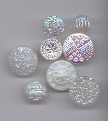 8 iridescent vintage buttons - white and clear glass