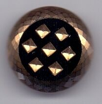 4 large glass vintage buttons - black with gold