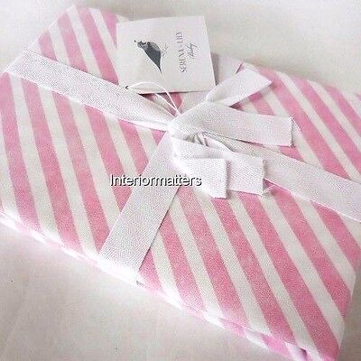 SERENA LILY baby CANDY STRIPE CRIB SKIRT DUST RUFFLE Pink Striped COTTON NEW