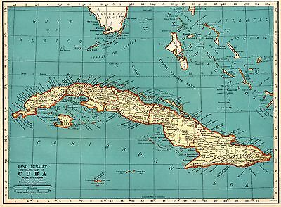 1937 Antique Map of CUBA Gallery Wall Art Gift for Map Collector Cuba Print 3855