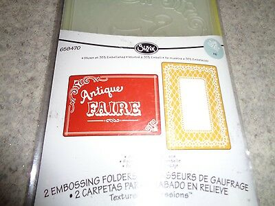 NEW Sizzix  Embossing Folders x 2 Antique Faire and Lace Set