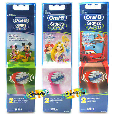 Oral B Stages Power Toothbrush 2 Heads - Kids - Mickey, Cars, Disney Princess,
