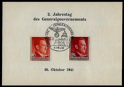 Germany Third Reich General Government STAMPS ON CARD