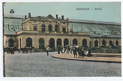 (P997) The Station. Kortrijk, Courtrai, Courtray. Belgium. Early 1900s Postcard