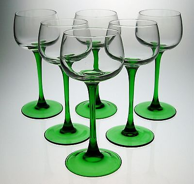 Set of Matching Wine Glasses x 6 with Long Green Stems