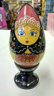 Vintage Russian Wooden Decorative Egg and Cup - Painted Decorated Barge Ware