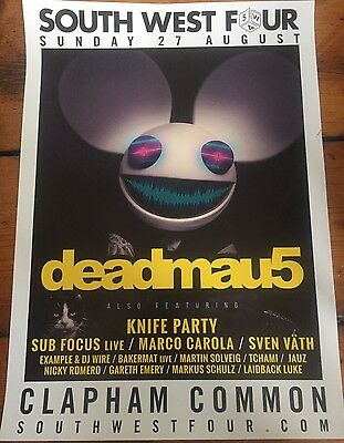 Deadmau5 - Rare Gig poster, London, August  2017 + Knife Party, Sub Focus