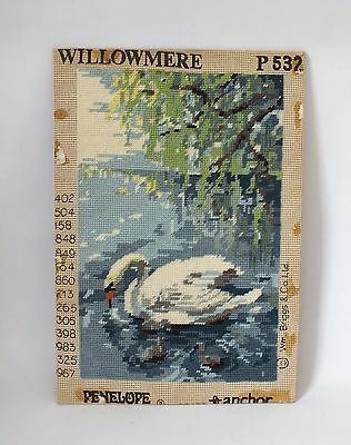 Vintage Completed Tapestry Needlepoint Canvas Swan Retro Bird