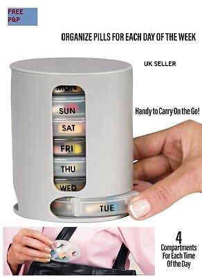 WEEKLY HANDY Pill Organiser Tower,7 Daily Boxes,4 Compartments- Braille Markings