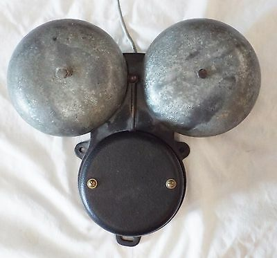 Old Cast Iron DOUBLE BELL Electric Wall Mount BELL School Bell Fire Bell