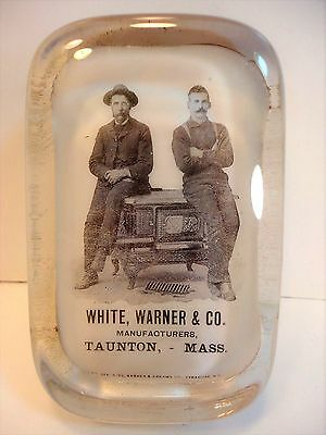 White, Warner & Co. Taunton, MA Advertising Paperweight ANTIQUE STOVES