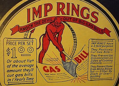 1930s Imp Rings Gas Kitchen Stove Accessory, Great RED DEVIL Box! Halloween