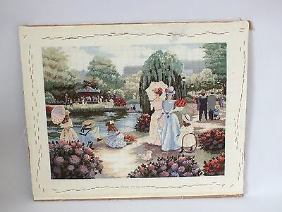 Completed Counted Cross Stitch Unframed Picture Edwardian Lady