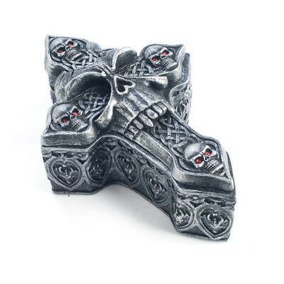 Skulls and Skulls Cross Trinket Box Celtic Knot Red Eyes Scary Creepy Haunted